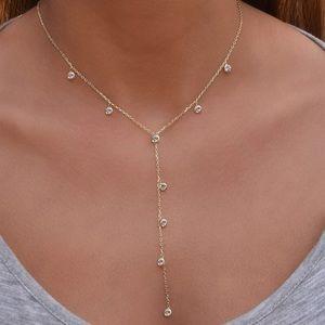 Bezel drop Y Necklace